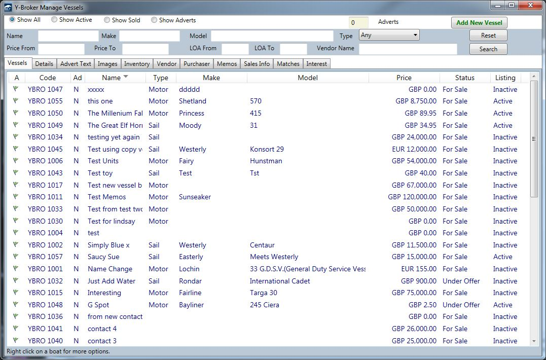 YBroker Yacht Broker CRM Software - Screen shot 2